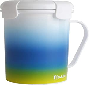 French Bull 23 oz Soup Mug With Handle and Vented Lid Food Storage-Cool Grip Leak Proof Dishwasher and Microwave Safe Lunch Travel Airtight - Blue Ombre, one size (72441)