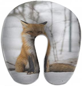 Emvency U-Shaped Travel Neck Support Pillow Red Fox Vulpes Healthy Specimen Airplane 12x11.5 Inch Soft U-Pillows with Rebound Material for Kids Adults