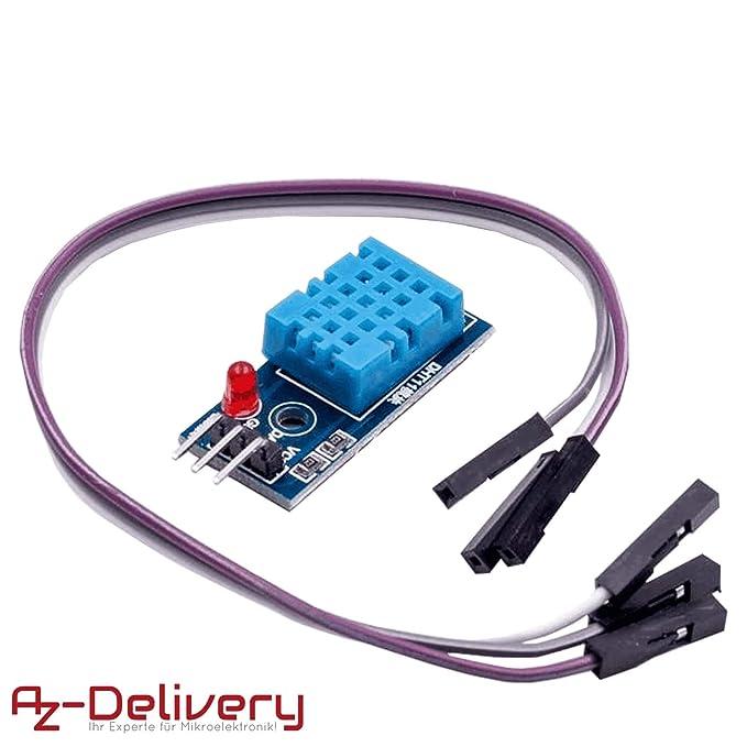 AZDelivery DHT11 Modulo de Conexion Sensor de Temperatura y Humedad con Placa y Cable para Arduino Ebook incluido
