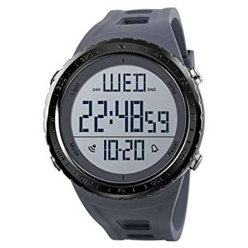 WULIFANG Mens Sports Watch Piscina Buceo Reloj Digital Reloj Electrónico del Hombre Impermeable Reloj Pequeño Gris