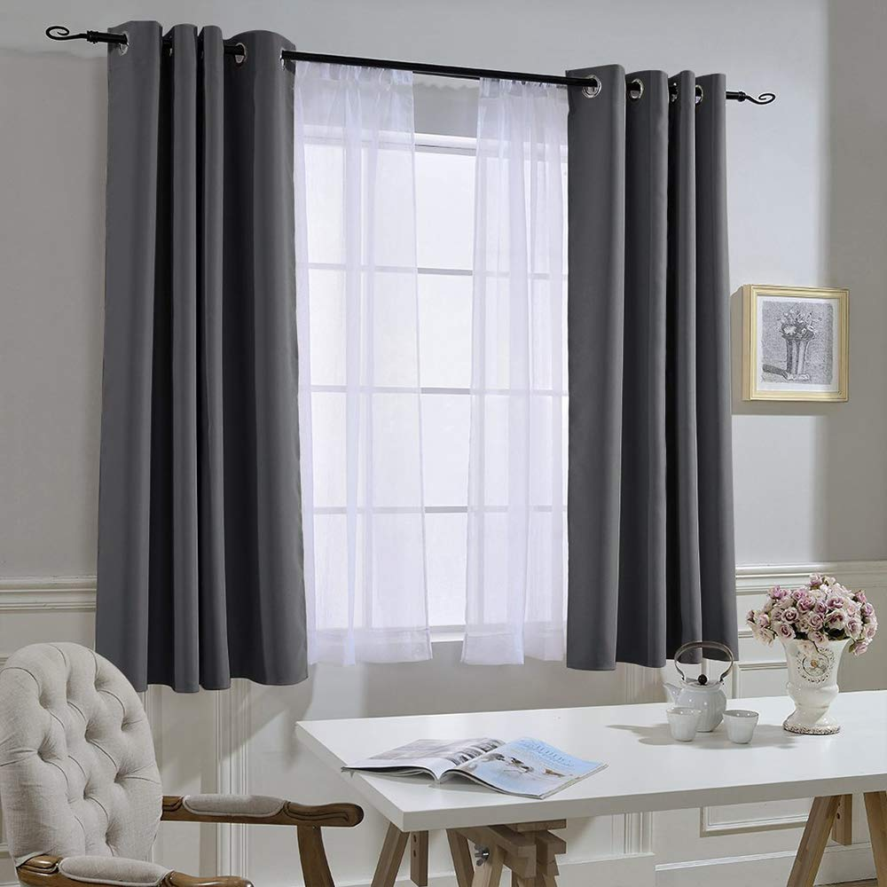 NICETOWN Blackout Curtains Panels for Bedroom - Window Treatment Thermal Insulated Solid Grommet Blackout Drapes for Living Room