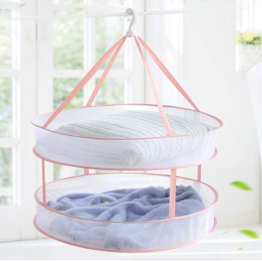 ARISKEY Mesh Clothes Hanging Dryer, Double-Layer Foldable Sweater Drying Basket Racks Hanging Clothes Laundry Net Mesh Basket Dryer Net for Lingerie Underwears Woollen Sweater Garments Plush (Pink)