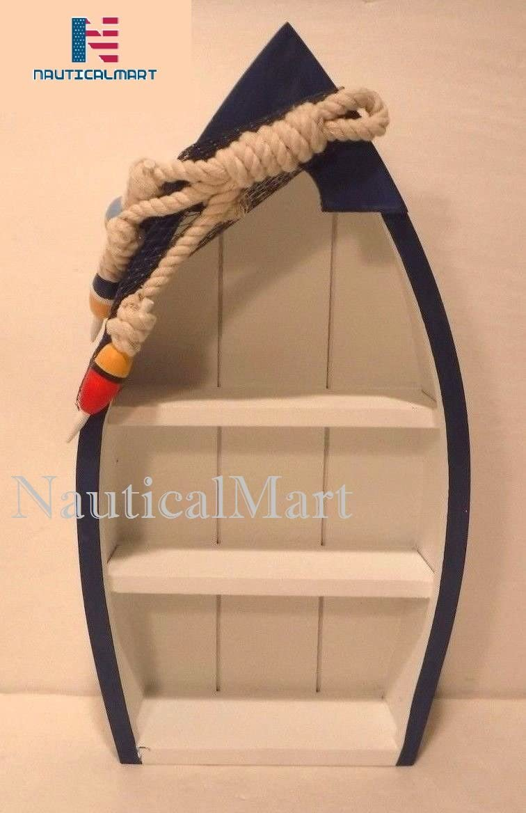 Standing Blue amp White Shelf Boat Nautical Decor Fishing Cabin Ocean Lake Cottage