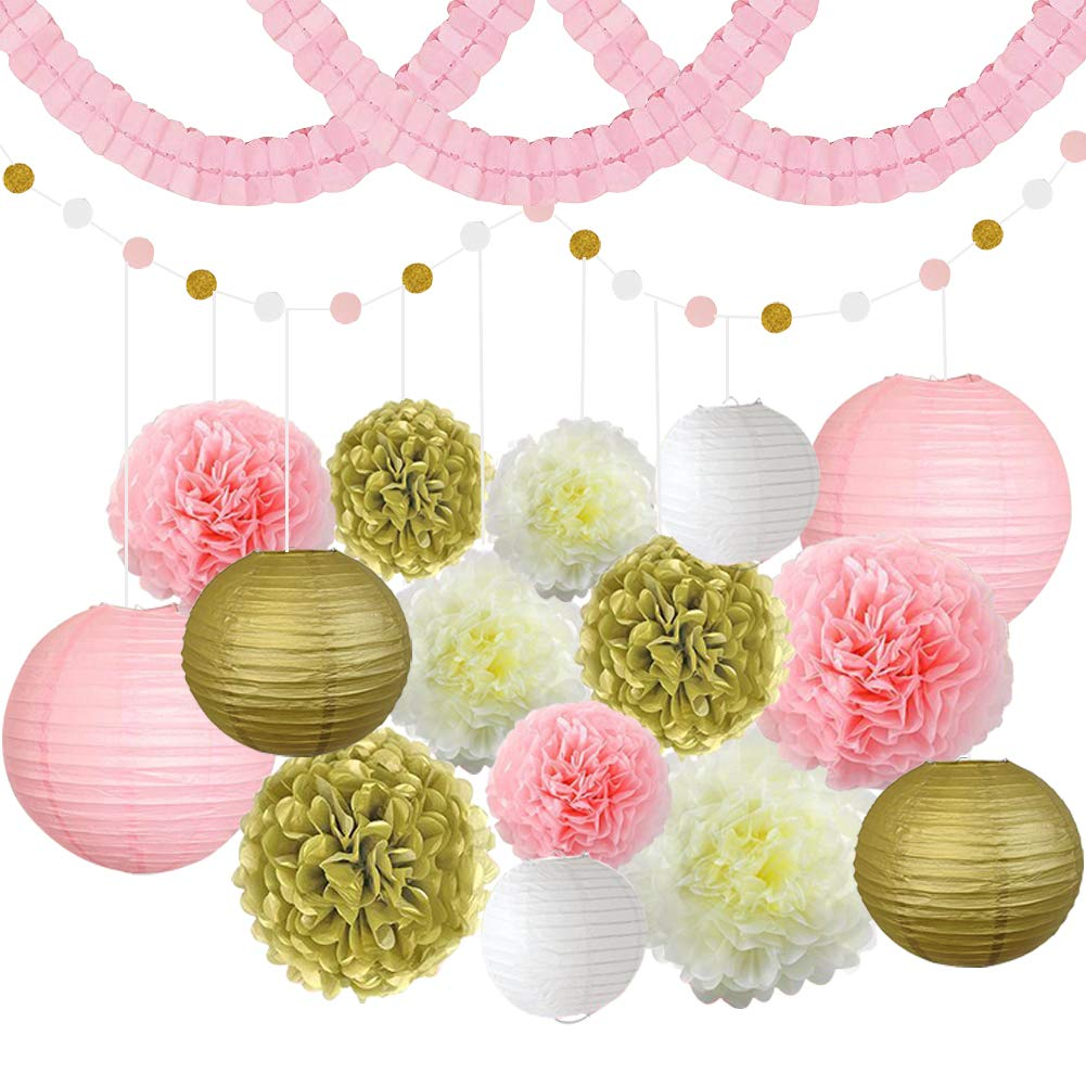Pink White and Gold Party Decoration Set Includes Paper Lanterns Tissue Paper Flowers Four Leaf Hanging Garland Polka Dot Paper Garland