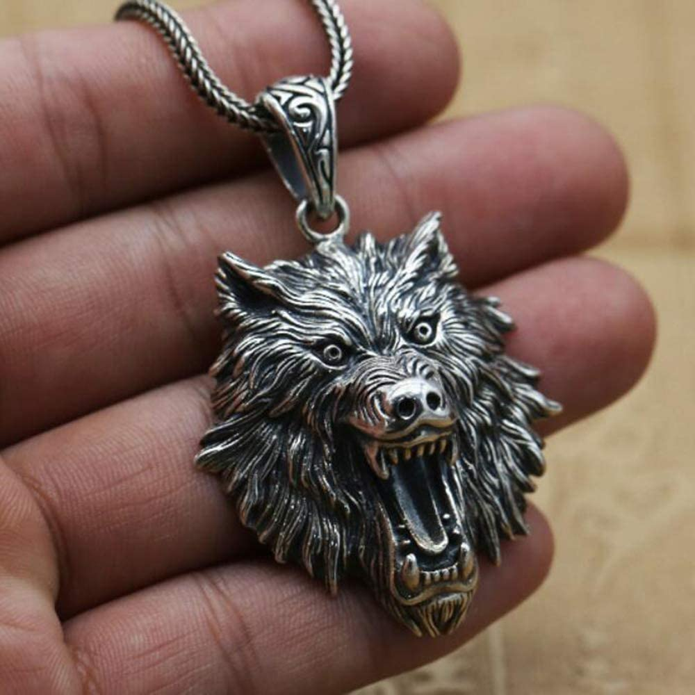 Dixinla Necklace Pendant Silver, S925 Sterling Silver Men and Women Personality Fashion Domineering Retro Wolf Head Pendant Necklace Gift for Family or Friends