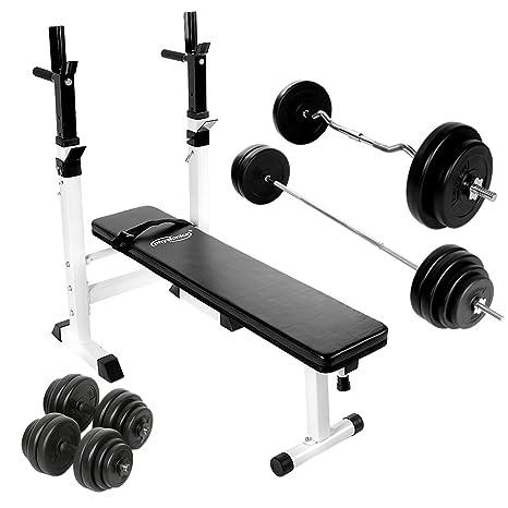Physionics - Banco de fitness con barra curva, barra larga y 2 mancuernas (incluye