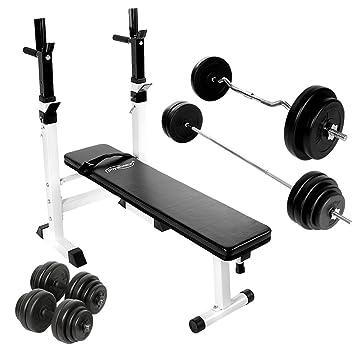 Physionics - Banco de fitness con barra curva, barra larga y 2 mancuernas (incluye 28 discos): Amazon.es: Deportes y aire libre