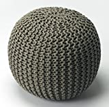 Woven Pouf in Gray