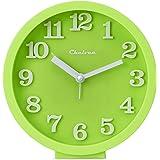 "Chelvee(TM) 5"" Desktop and Wall-mounted Dual-use Alarm Quartz Clock, Silent Machine, Non Ticking, Alarm Sound Stronger, Battery Operated. (Green)"