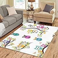 InterestPrint Floor Rugs Mat Custom Owls On The Tree Area Rugs Modern Carpet for Home Dining Room Living Room Decoration Size 7x5