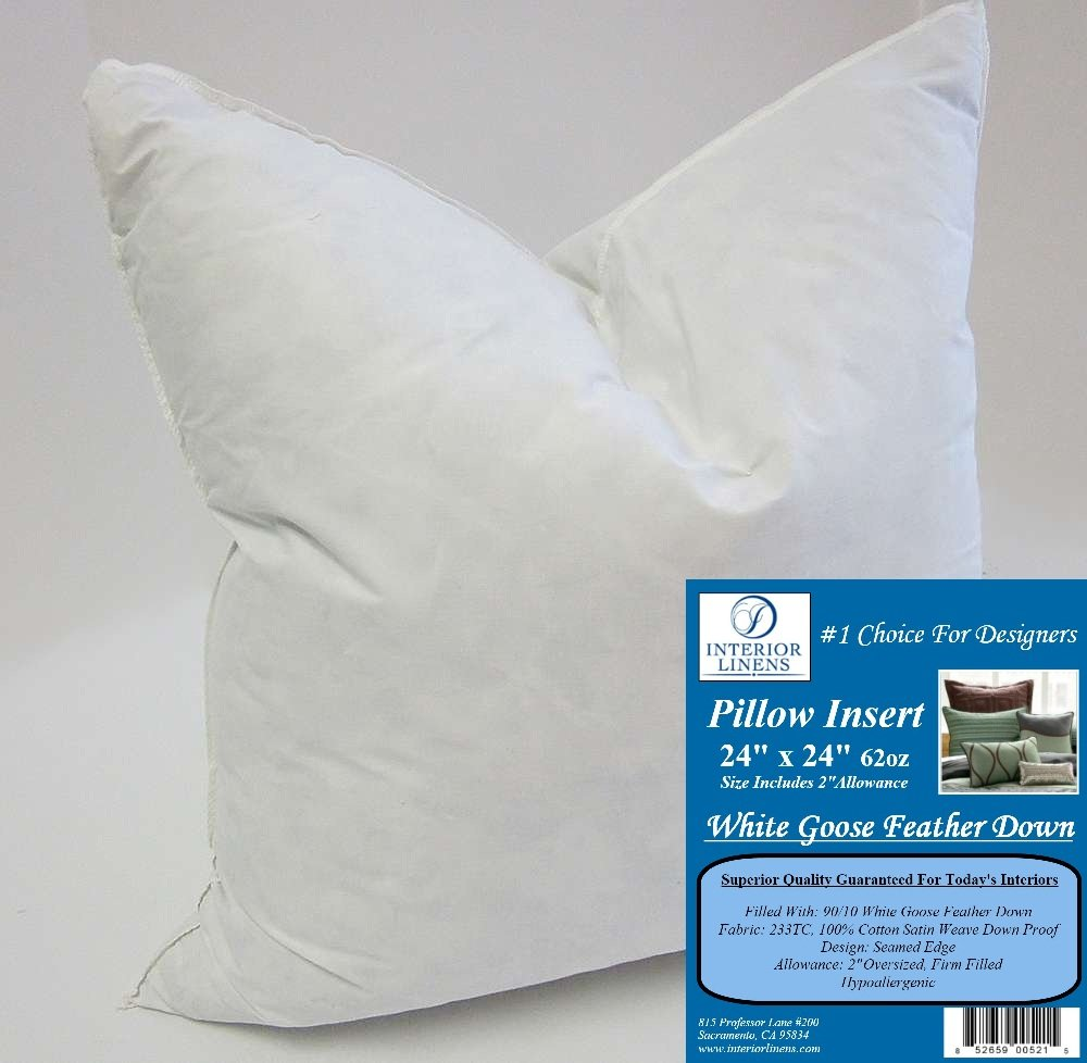 24'' x 24'' 62oz. Pillow Insert: 90/10 White Goose Feather Down - 2'' Oversized & Firm Filled (Actual Size: 26''x26'') by Interior Linens