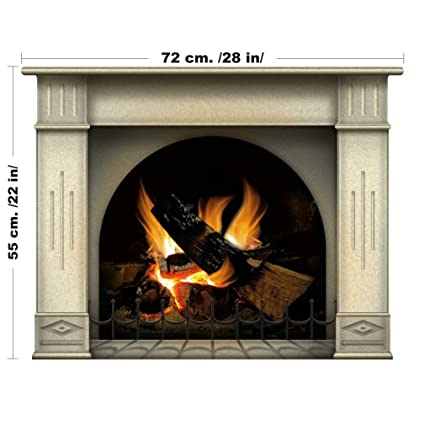 Camino incantevole con decorazione d\'interni in legno di legna da ardere -  decorazione d\'epoca per la tua casa o appartamento (Medio, Ocra)