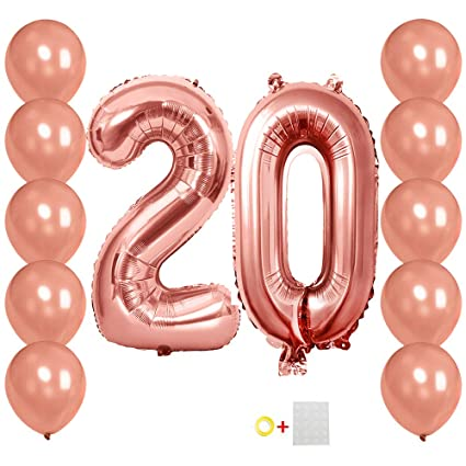 Amazon Number Balloons 20 Rose Gold Jumbo Foil 10Pcs