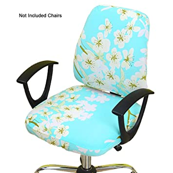 Magnificent Gikidea Removable Office Chair Cover With Floral Pattern Elasticized Dorm Computer Rotating Chair Slipcover Washable Seat And Back Cover Aqua Floral Cjindustries Chair Design For Home Cjindustriesco