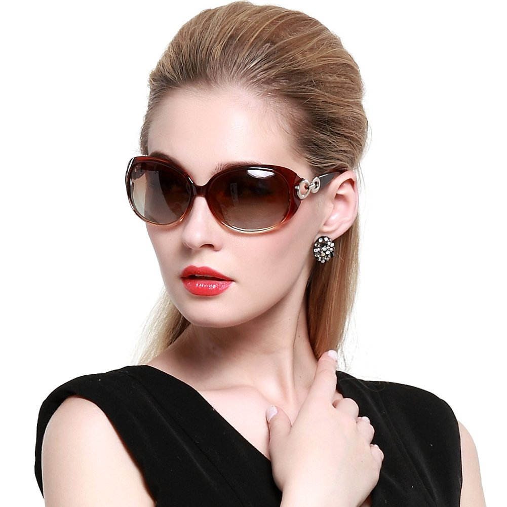 DUCO Shades Classic Oversized Polarized Sunglasses for Women 100% UV Protection 1220 DC-1220-01