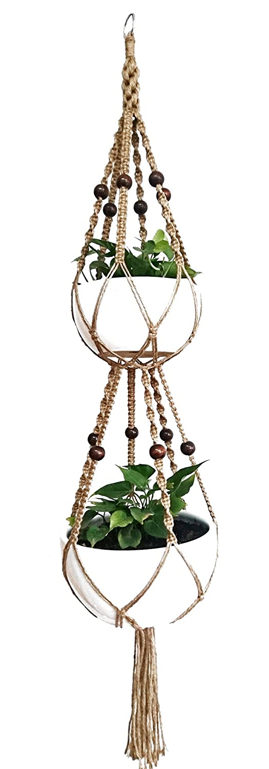 6 Legs Macrame Plant Hanger Natural Jute Double Plant Hanger & Holder with Metal Ring and 12 pcs Round Brown Wood Bead, 65-inches Length (Without the white pot and plant) MCHANG