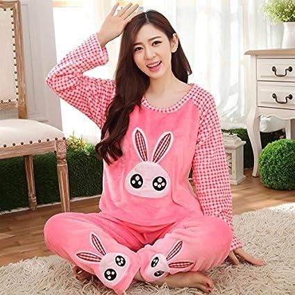 MH-RITA Otoño Invierno Mujer Pijama de manga larga de franela conjuntos grandes ojos de