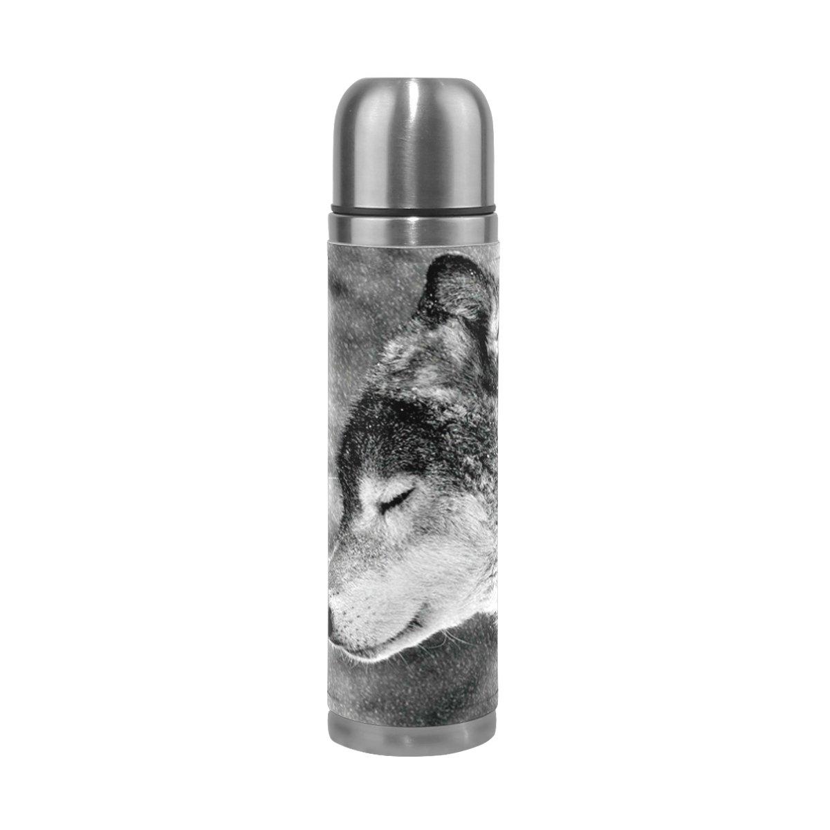新しいコレクション deyyaブラックandホワイトWolfsパターン印刷17 oz二重壁真空断熱ステンレススチール水ボトル真空フラスコ旅行マグ魔法瓶コーヒーカップ B078W361YX B078W361YX, 島道具:79168ba5 --- a0267596.xsph.ru
