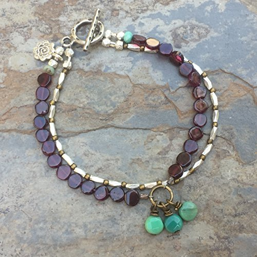 Garnet Artisan Bracelet with Green Moss Opal and Hill Tribe Silver 7.5 inch -