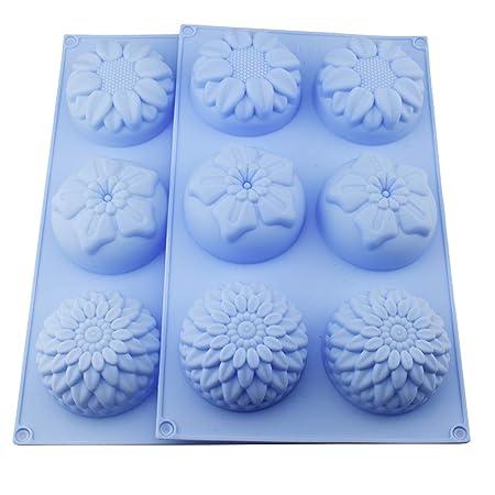 2 Packungen Backform für Blumen Sonnenblume Chrysanthemum Seife Schokolade Muffin Cupcake Form Silikon für Homemade, DIY Cook