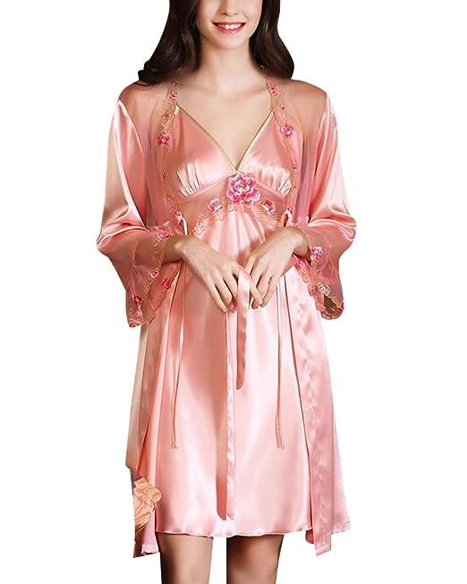 Mujer Conjunto de Pijama Kimono Satén Ropa de Dormir Camisón 2 Piezas: Amazon.es: Ropa y accesorios