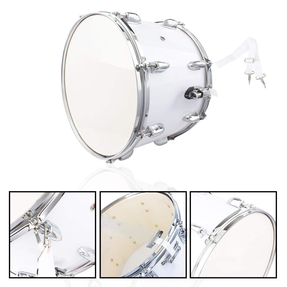 Zoelifeel Musical Instrument Tool Accessories with 14 x10 inches Marching Drum Drumsticks Key Strap White (US Shipment)