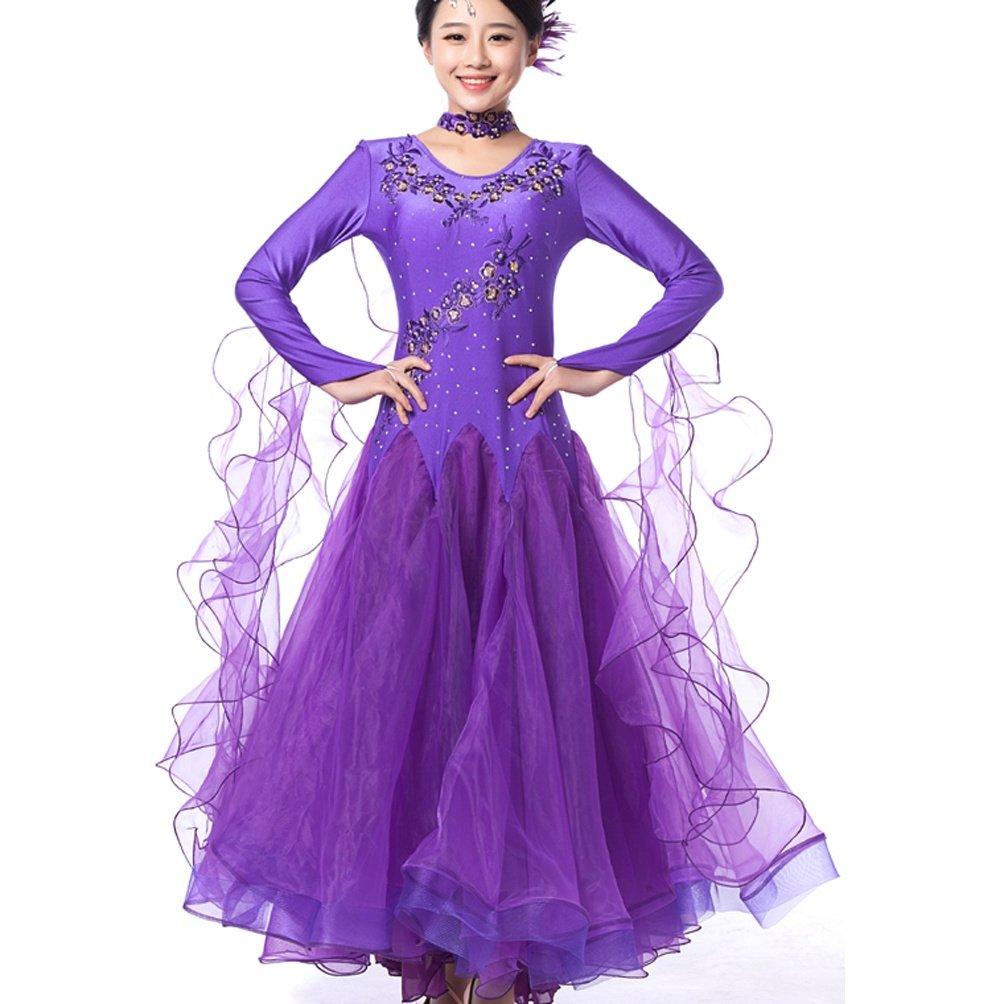 Walzer Walzer Walzer Tanz-Outfit Für Frauen Wettbewerb Tanzbekleidung Lange Ärmel Modern Balli da Sala Tanz Kostüme B07BZPJ2PY Bekleidung Wunderbar 30fc20