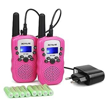 Retevis RT388 Walkie Talkie Niños Recargable PMR446 8 Canales 10 Tonos de Llamada Linterna LED VOX Walkie Talkie Juguete con Cargador y baterías ...