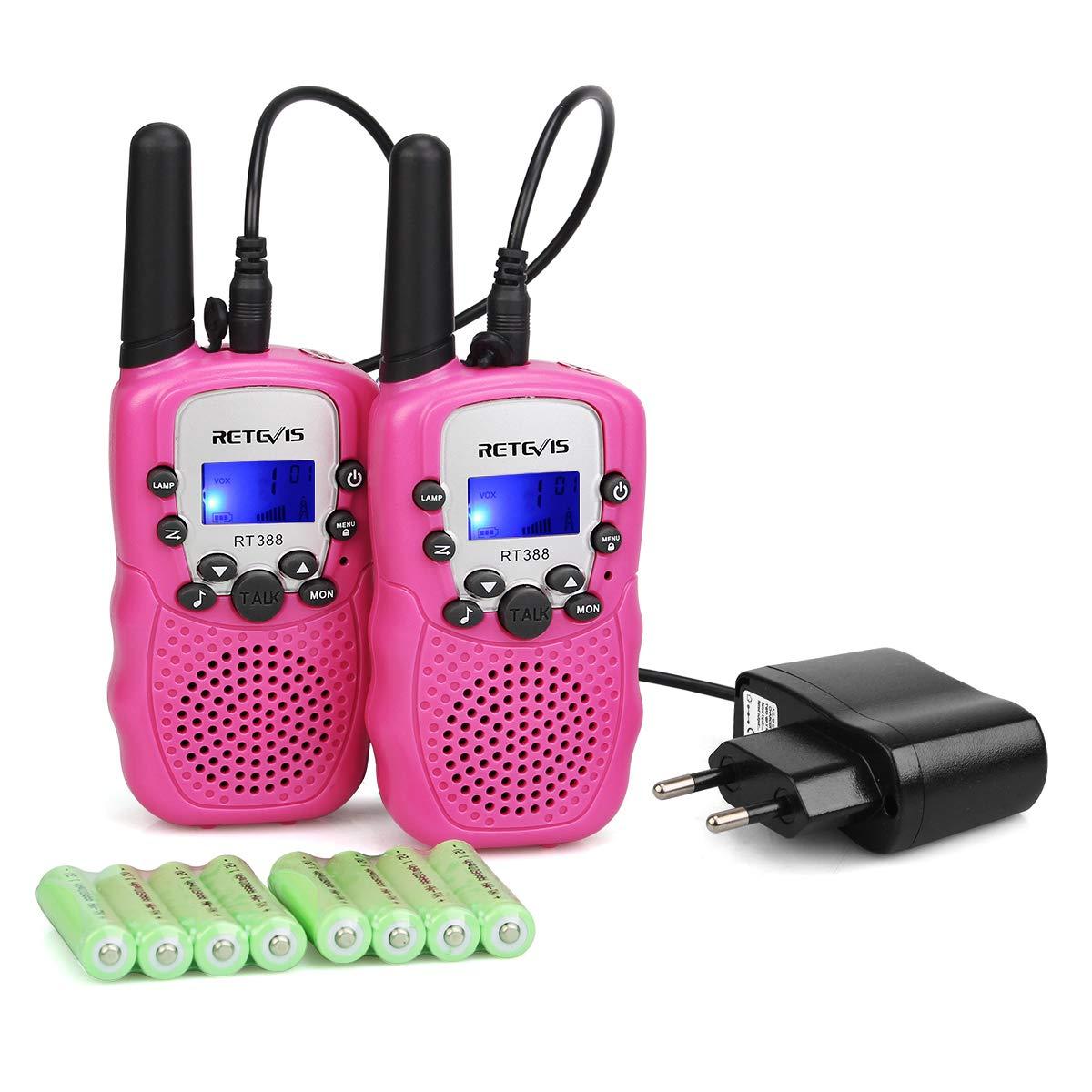 Retevis RT388 Walkie Talkie Niños UHF con Pantalla LCD 10 Tonos de Llamada PMR 446 con Cargador de Adapador Europeo Linterna LED VOX 8 con Subcanal Canales ...