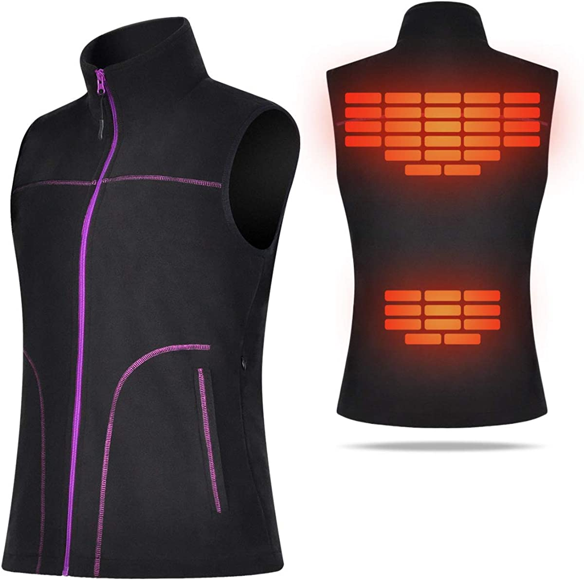 COVVY Heated Vest for Women Electric Warm Outerwear/w Battery Pack, Washable