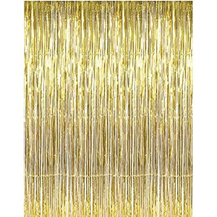 Adorox (2 pc Metallic Pink Metallic Silver Gold Rainbow Foil Fringe Curtains Party Wedding Event Decoration