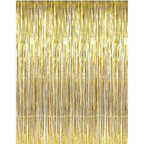 (Adorox (2 pc Metallic Gold) Metallic Silver Gold Rainbow Photo Backdrop Foil Fringe Curtains Party Wedding Event Decoration)