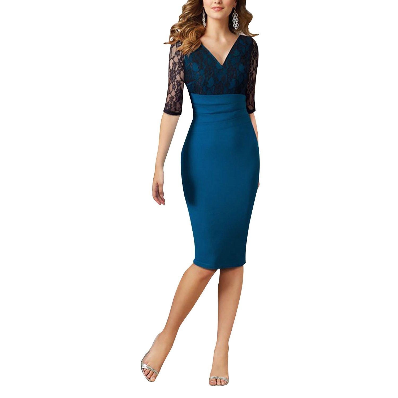 Dolamen Mujer Cordón Vestidos, El cuello profundo de V Vintage y el estilo retro, adelgazan el ajuste Rodilla-largo, vestido del lápiz del cordón 3 ...