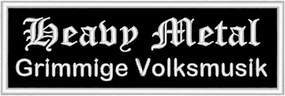 Spruchaufnäher Heavy Metal Grimmige Volksmusik Ein Rechteckiger Patch Mit Ca 12x4cm Auto