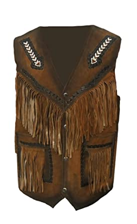 coolhides Mens Western Leather Vest with Fringes Suede Brown X-Small
