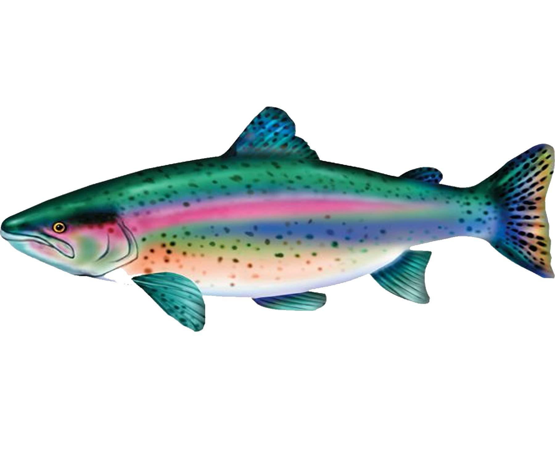 Wisechoice Stuffed Rainbow Trout Giant Lake Salmon | Fish Lounging Pillow, 4.5' Long
