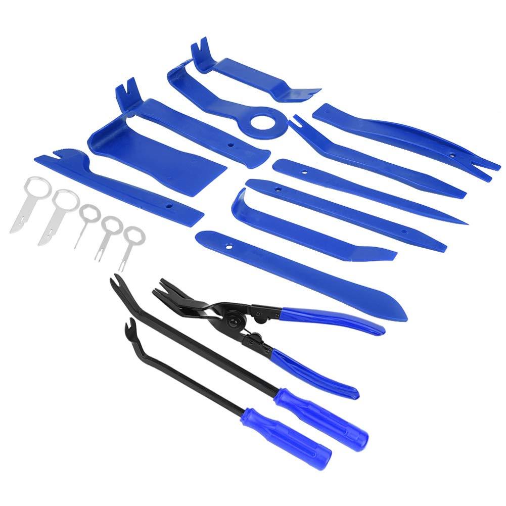 pinze clip di fissaggio porta clip pannello kit strumenti di rimozione cruscotto blu EBTOOLS 19Pcs Strumento di Rimozione Auto Kit Utensile di Smontaggio strumento stereo radio universale spry