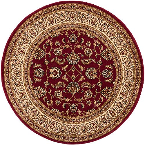 Noble Sarouk Red Persian Floral Oriental Formal Traditional 5 Round ( 5'3