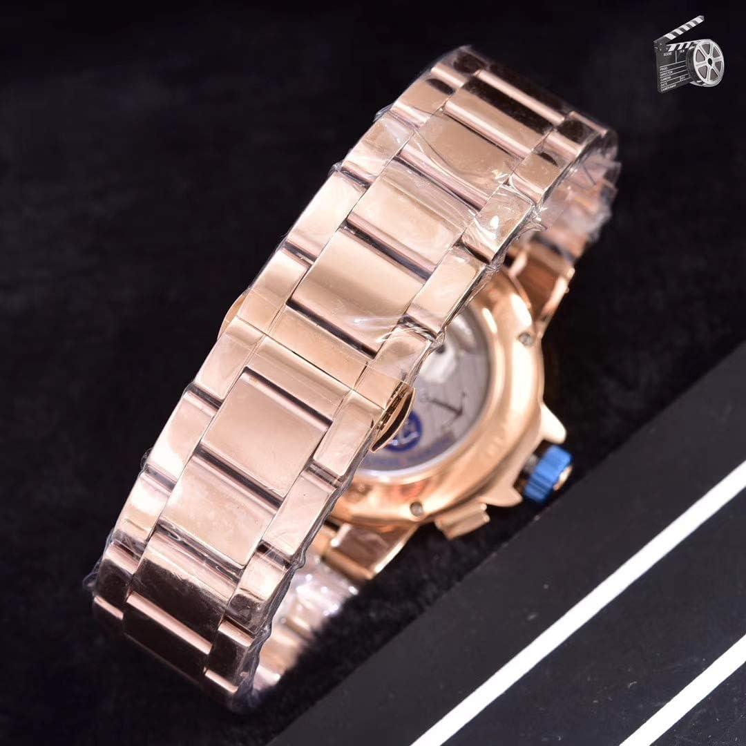 Orologi meccanici automatici di da uomo di in acciaio inossidabile con cinturino in oro rosa con calendario tourbillon limitato Blue