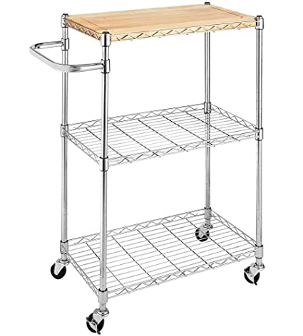 Whitmor Supreme Kitchen And Microwave Cart Wood U0026 Chrome
