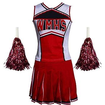 """Kost/üm aus /""""High School Musical/"""" mit Pompoms Cheerleader-Kost/üm in 6/Farben und/5/Gr/ö/ßen"""