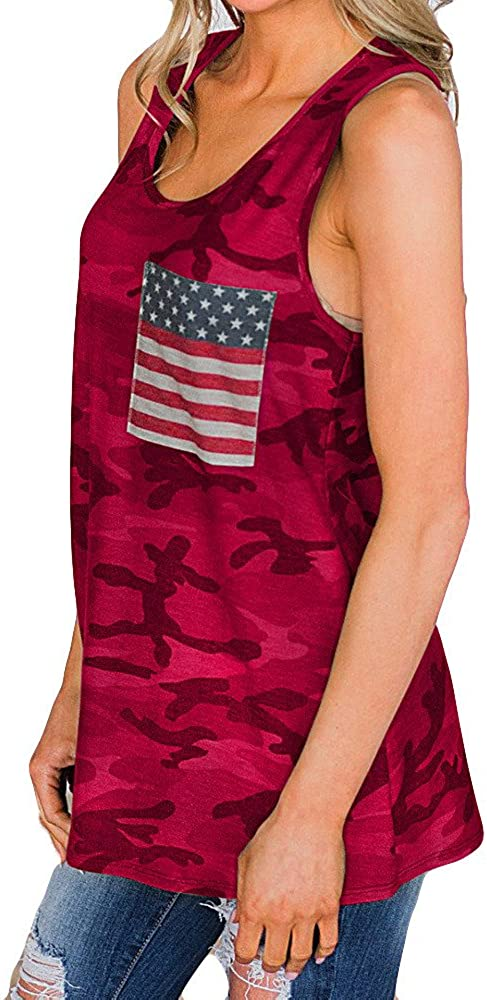 Vedolay Women Tank Tops Womens Crop Camouflage Top Fashion Printed Shirts Sleeveless Workout Blouse Loose Vest Soft Flag Tee
