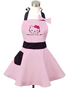Lovely Hello Kitty Light Pink Retro Kitchen Aprons for Woman Girl Cotton Cooking Salon Pinafore Vintage Apron Dress