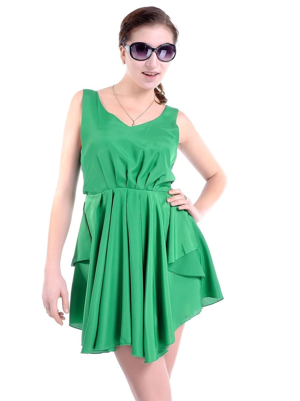 Anna-Kaci S/M Fit Green Mother Earth Flowing Drape Front Bodice Pleats Dress