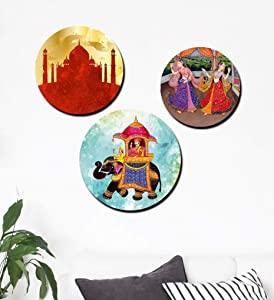 Furnishing Factory (Set of 3) Wooden Wall Plates for Living Room | Decorative Wall Hanging Plates (do not Handle with Care - Modern Concept)