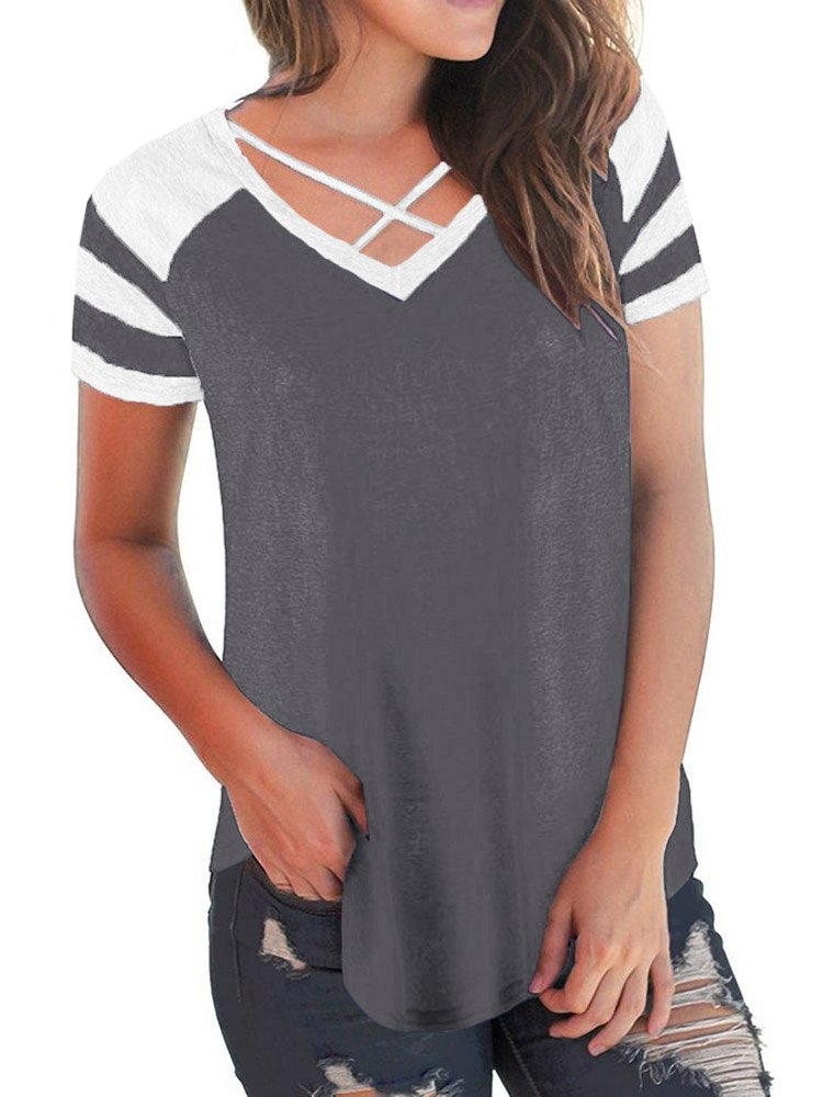 Sunseatime Womens Casual Color Block Criss Cross Front T-Shirt Short Sleeve V-Neck Tunic Tops