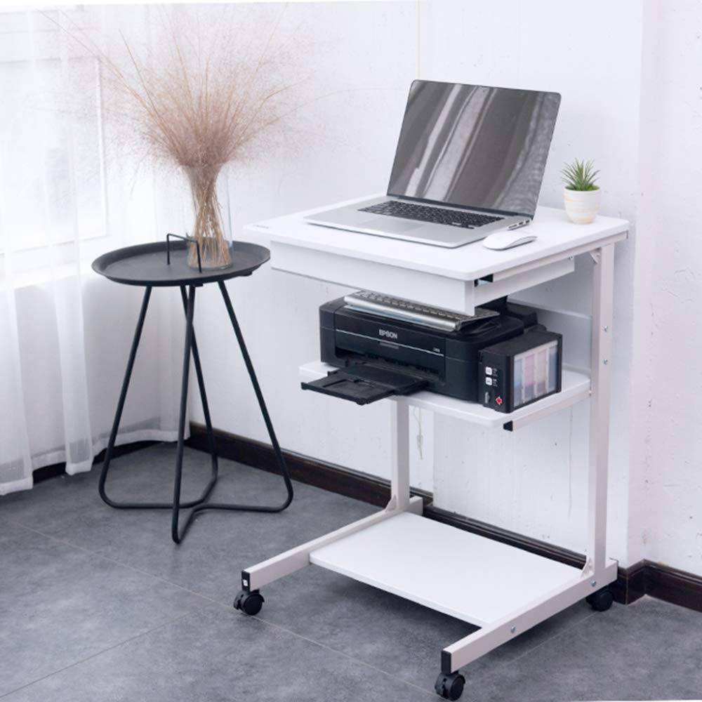LIULIFE Mobile Computer Desk On Wheels Writing Desk PC Table for Small Spaces, Workstation for Home Office,White by LIULIFE (Image #3)