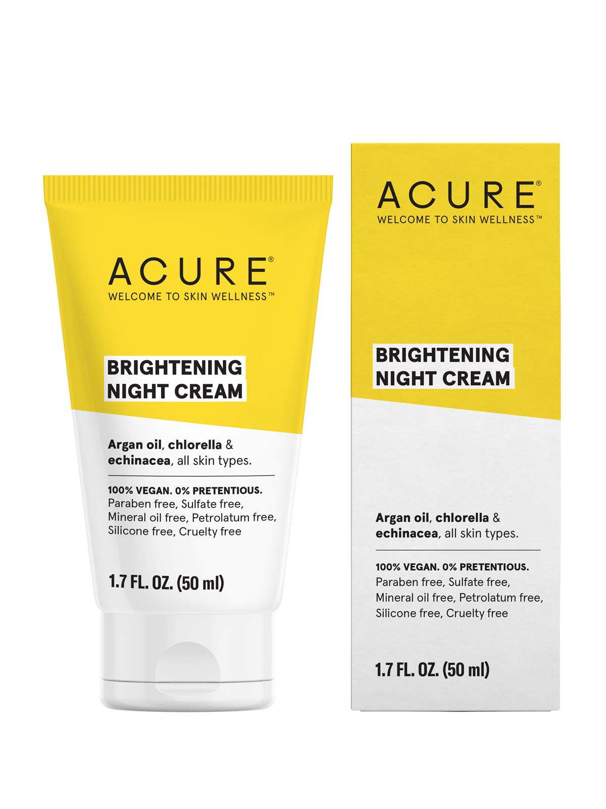 ACURE Brightening Night Cream | 100% Vegan | For A Brighter Appearance | Argan Oil, Chlorella & Echinacea - Moisturizes, Protects & Hydrates | All Skin Types  | 1.4 Fl Oz by Acure