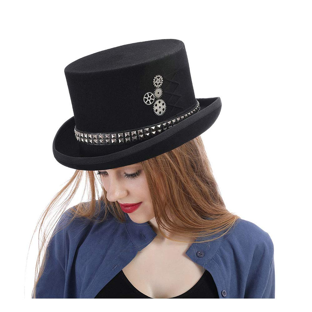 LL Women's Steampunk Top Hat Steam Punk Fedoras Top Hat Topper (Color : Black, Size : 59CM) by LL (Image #2)
