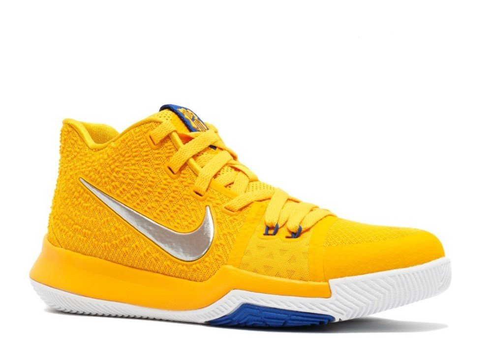 NIKE Boys Kyrie 3 Colorblock Mids Basketball Shoes B07947C8JL 6.5 M US Big Kid University Gold/Chrome/White/Game Royal
